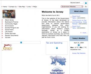 Screenshot of Gov.je in 2004