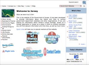 Screenshot of Gov.je in 2005