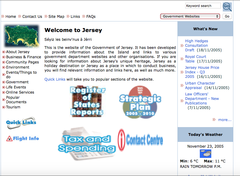 Screenshot of Gov.je in 2005